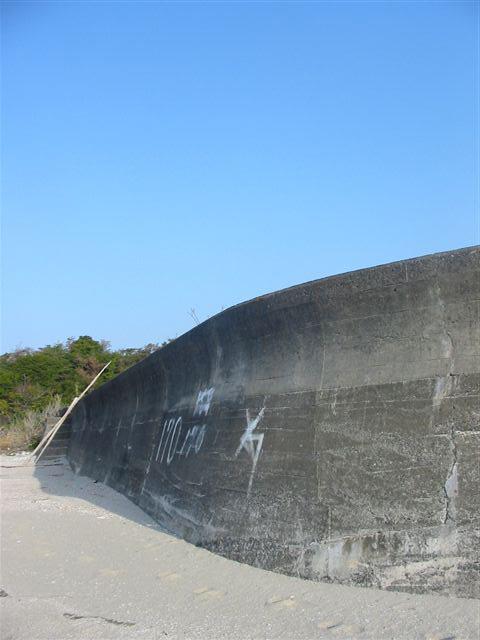 鯨肌の防波堤